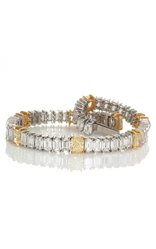 Emerald cut Diamonds and Yellow Diamond Bracelet in Platinum product image