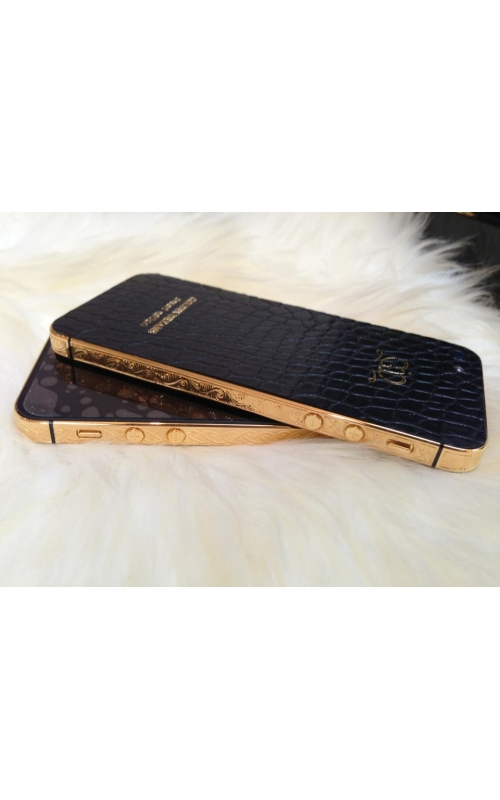 Gold W/ Leather Iphone and Engraving product image