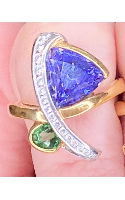 2.61ct Tanzanite And .46ct Tsavorite With .20cts Of Diamonds.  18k Yellow Gold product image