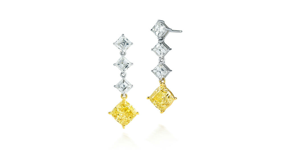 Merry Richards Chandelier Earrings with Princess Cut Diamonds