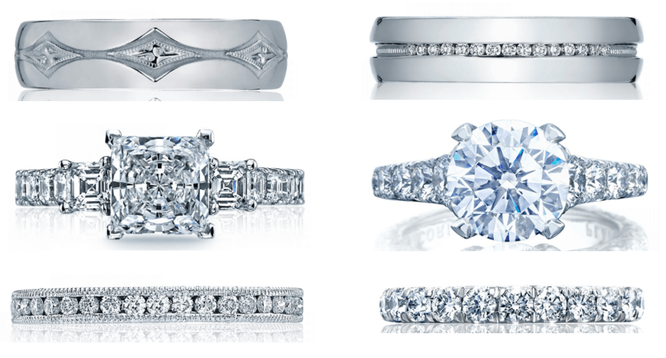 Selectiond from Tacori's bridal jewelry offered at Merry Richards Jewelers